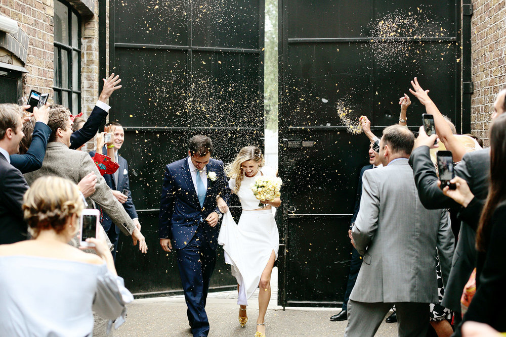 confetti wedding photo at Loft Studios London