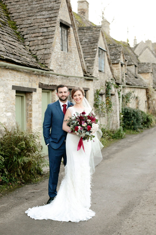 bride and groom wedding portrait in Bibury, Cotswolds