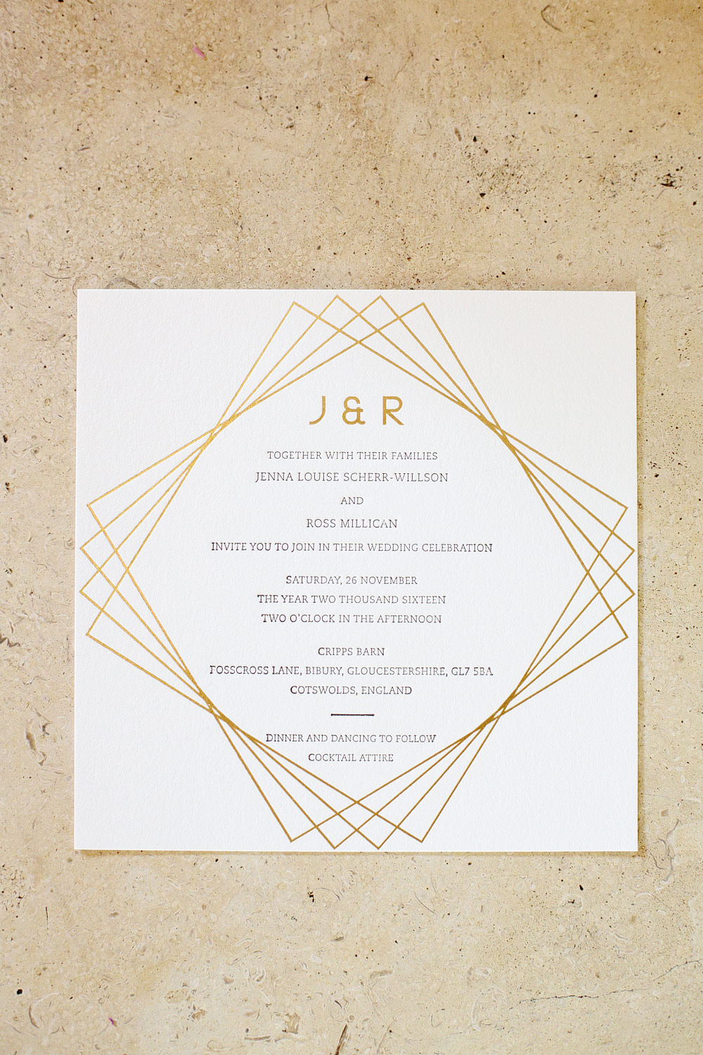 wedding invitation Barnsley House photo