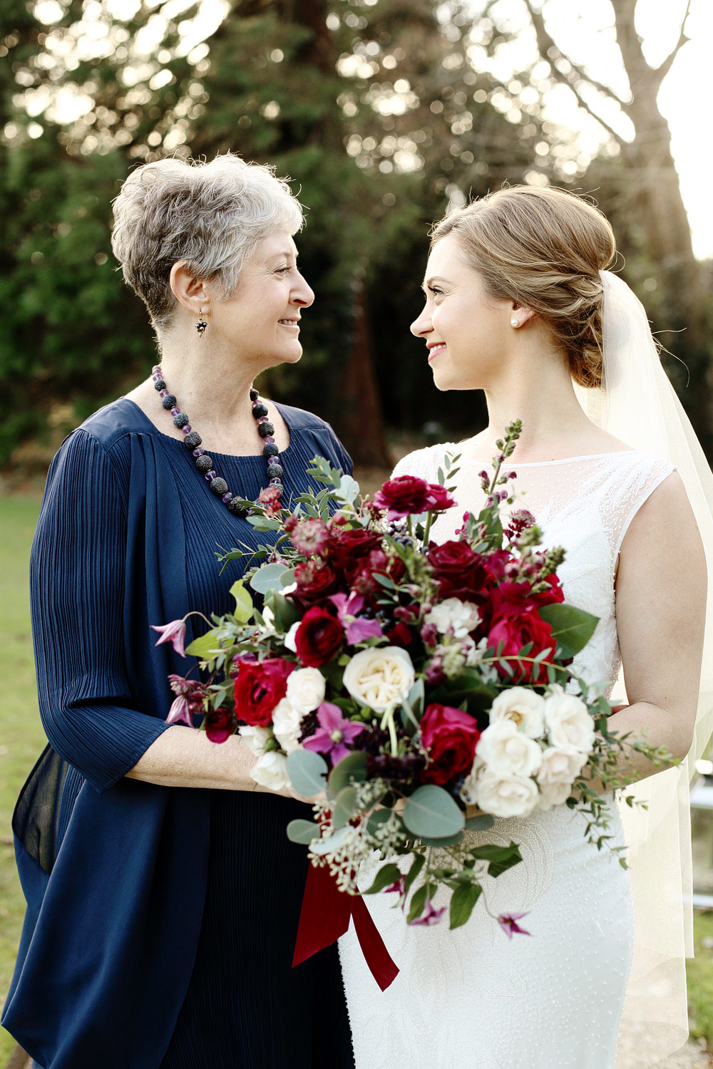 bride and mother portrait Cripps barn wedding Cotswolds