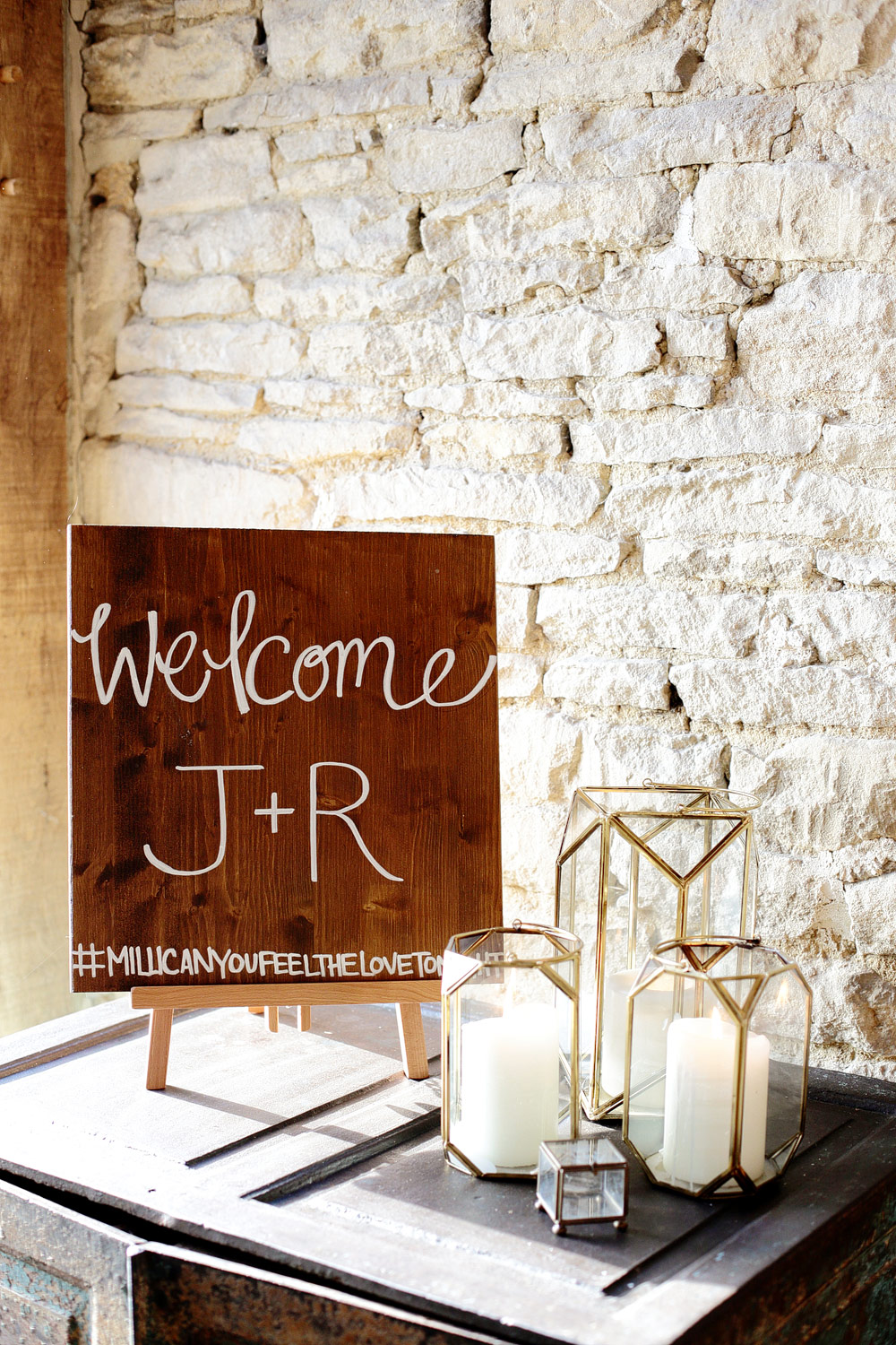 wooden calligraphy sign cripps barn wedding photo