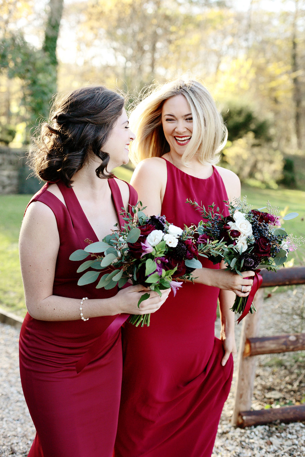 bridesmaids waiting for bride at Cripps Barn Cotswolds