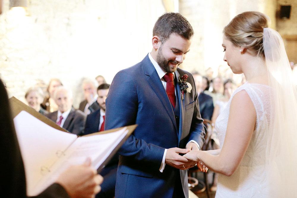 Cripps Barn wedding ceremony ring exchange