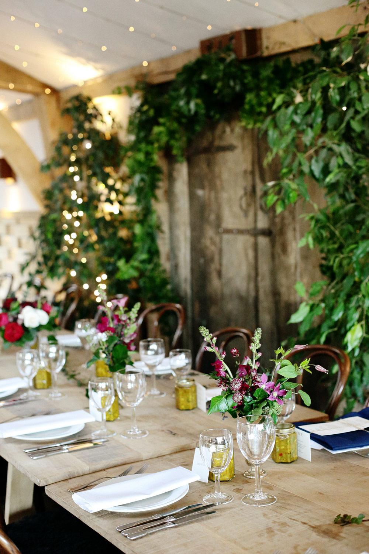 foliage wedding decor at cripps barn wedding venue