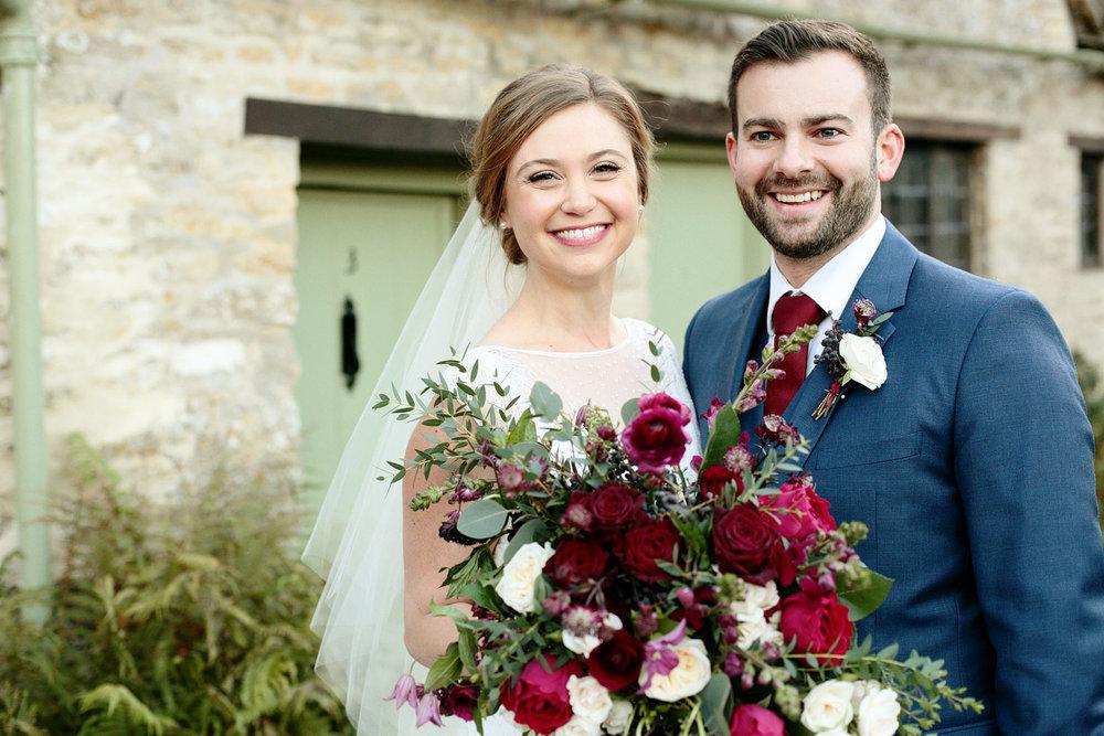 bride and groom at Cripps barn wedding venue