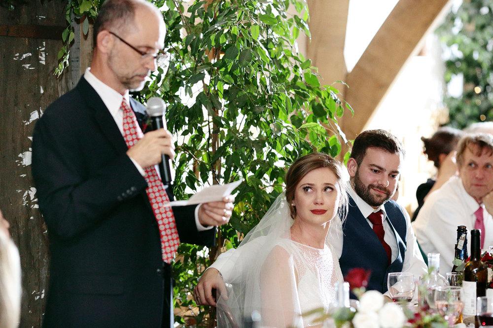wedding speeches photo at Cripps Barn
