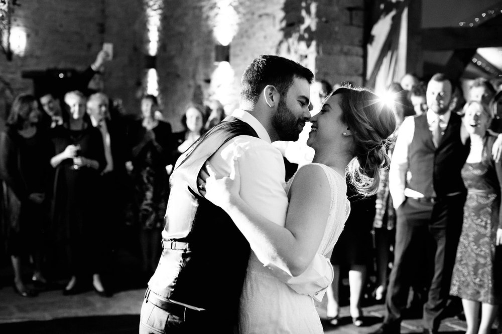 bride and groom first dance at Cripps barn photo