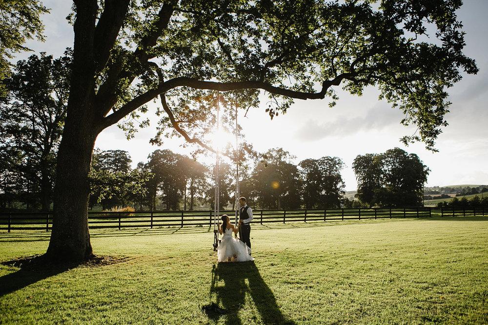 bride and groom on swing in Tankardstown House