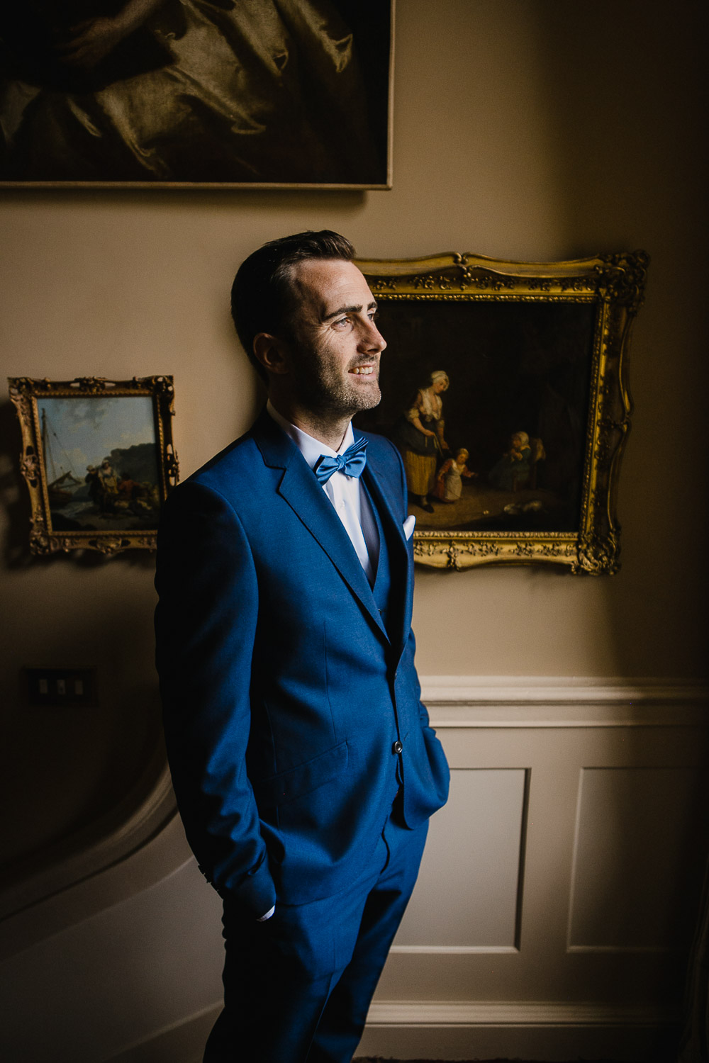 groom in navy suit tankardstown wedding
