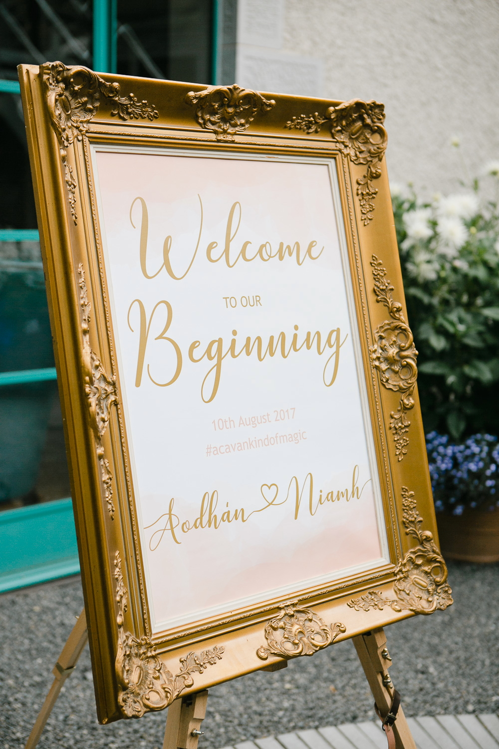 Welcome sign wedding reception virginia park lodge