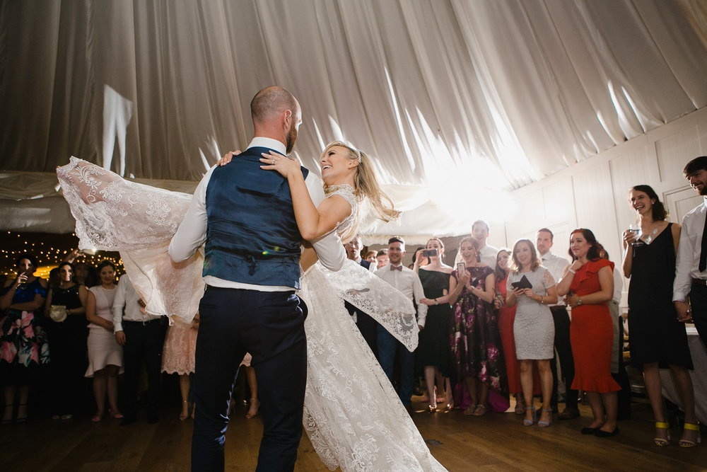 bride and groom first dance at virginia park lodge