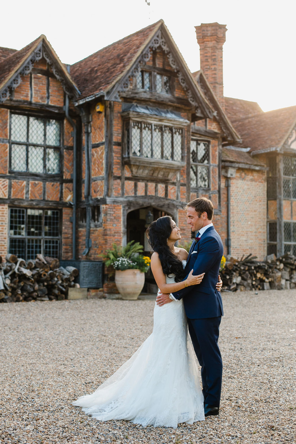 bride and groom photo outside dorney court wedding venue