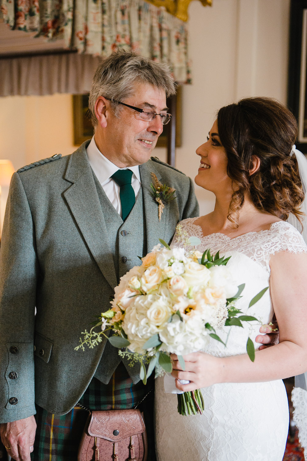 bride with father at dumfries house wedding