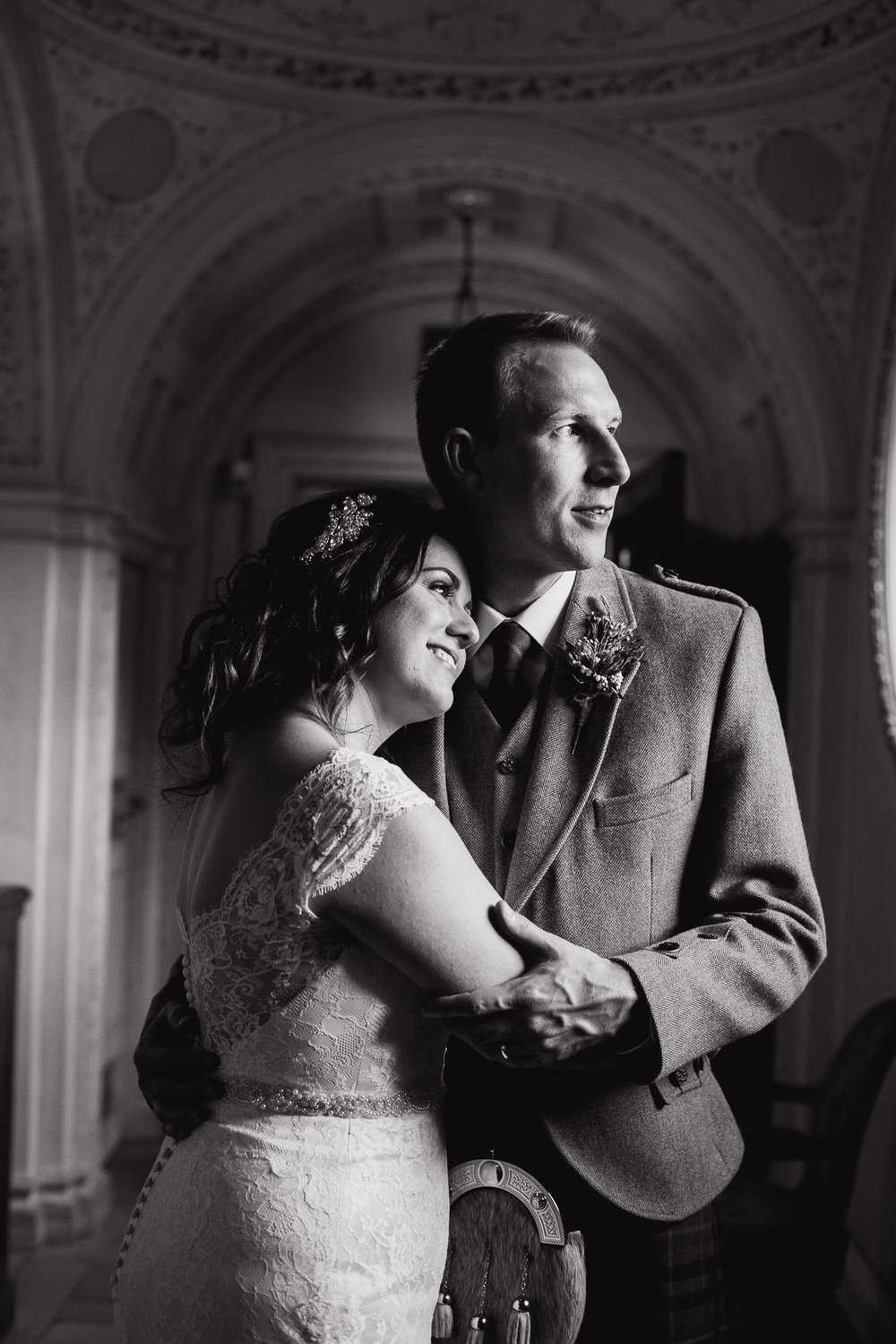 bride and groom portrait in Dumfries House