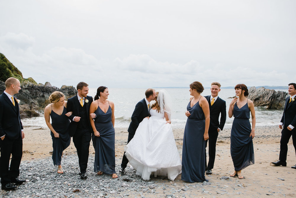 beach bridal party photo in Cornwall