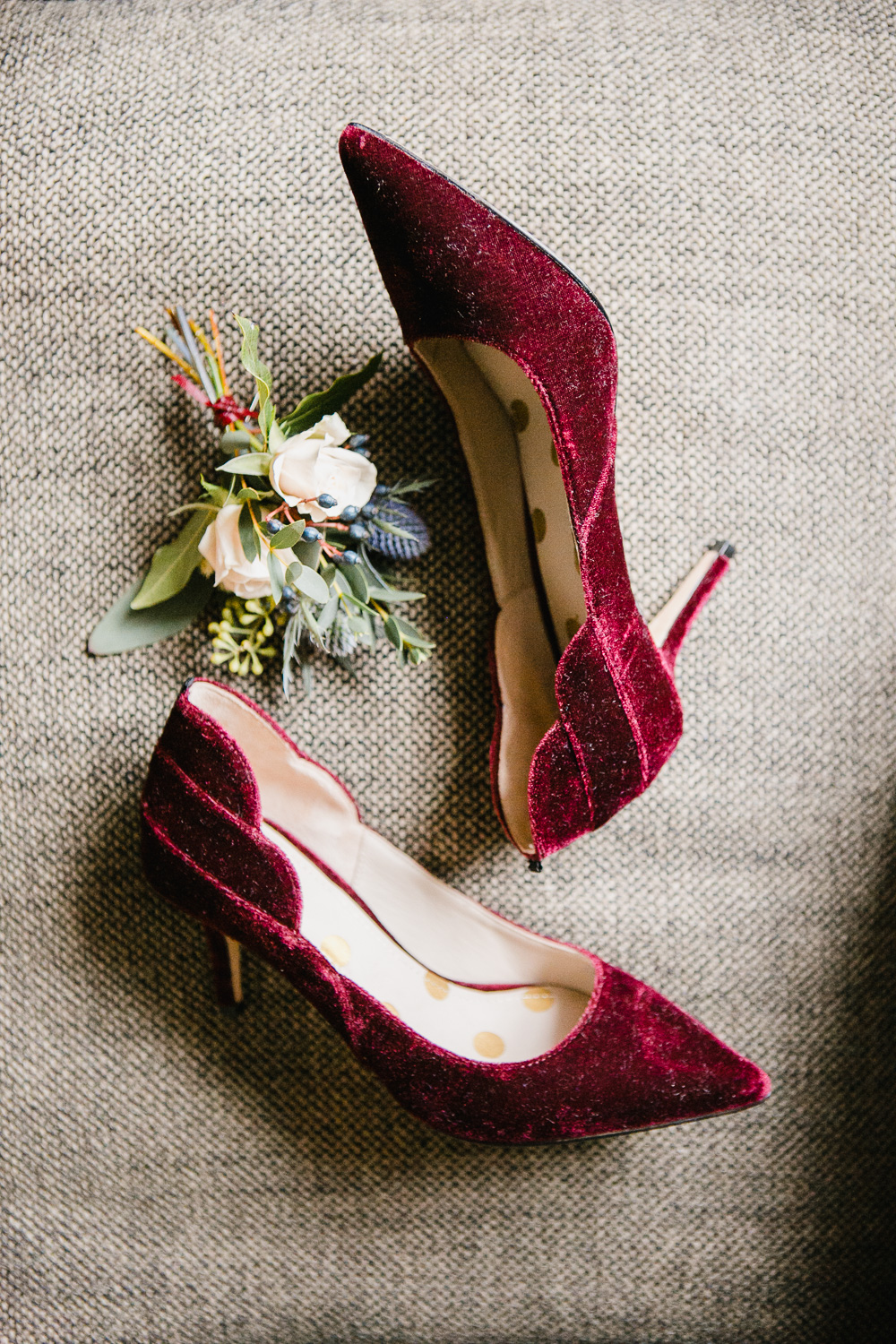 Burgundy Velvet Wedding Shoes Photo