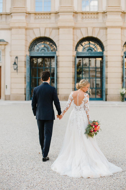 Bride And Groom Photo In Front Of Palais Liechtenstein
