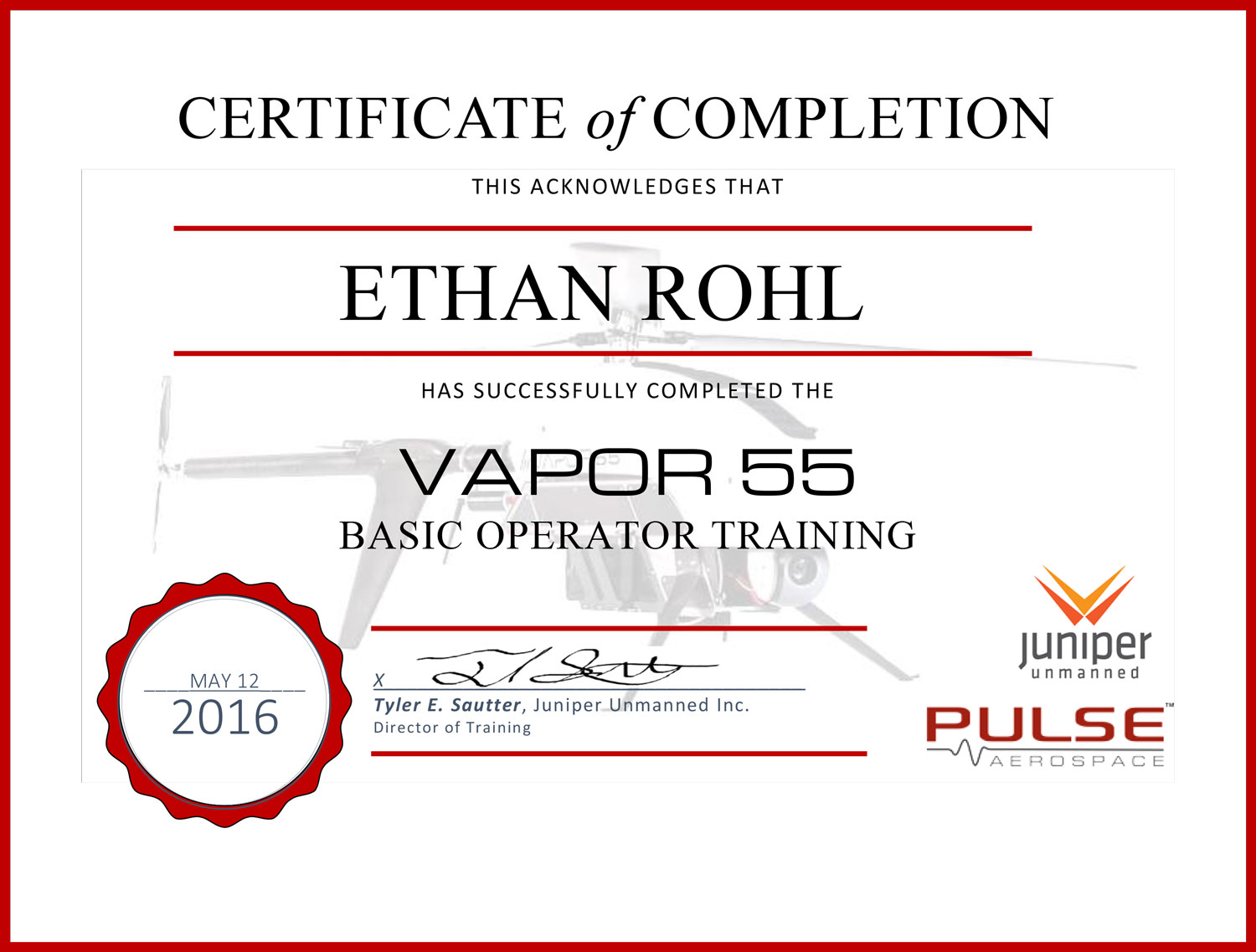 Certificates rohl drones inc certificate of vapour 55 basic operator training xflitez Choice Image