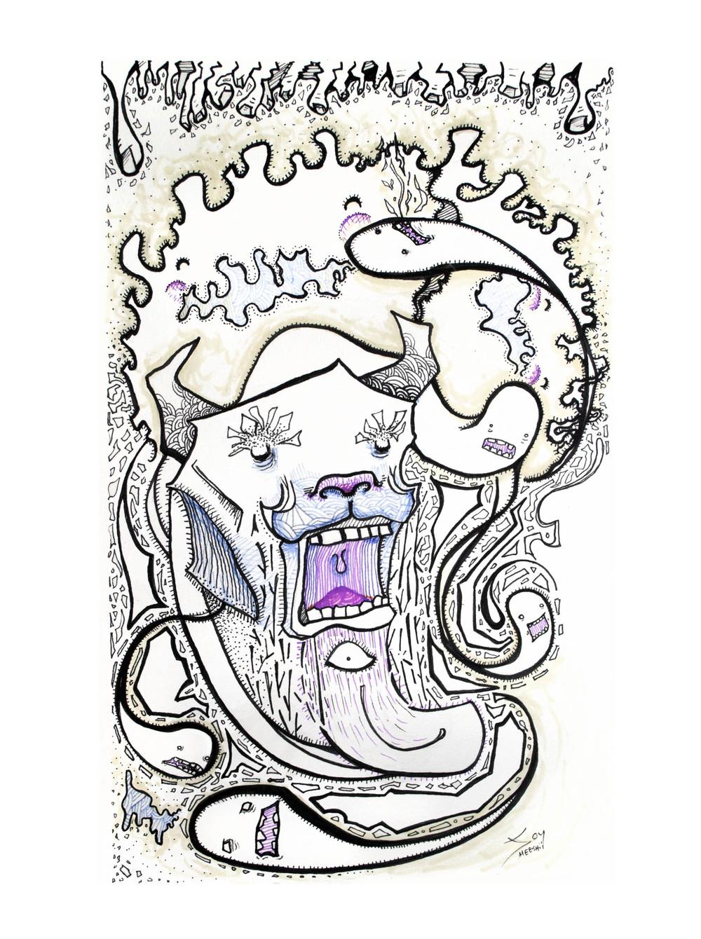 Eye iz Blind   pen and ink on paper