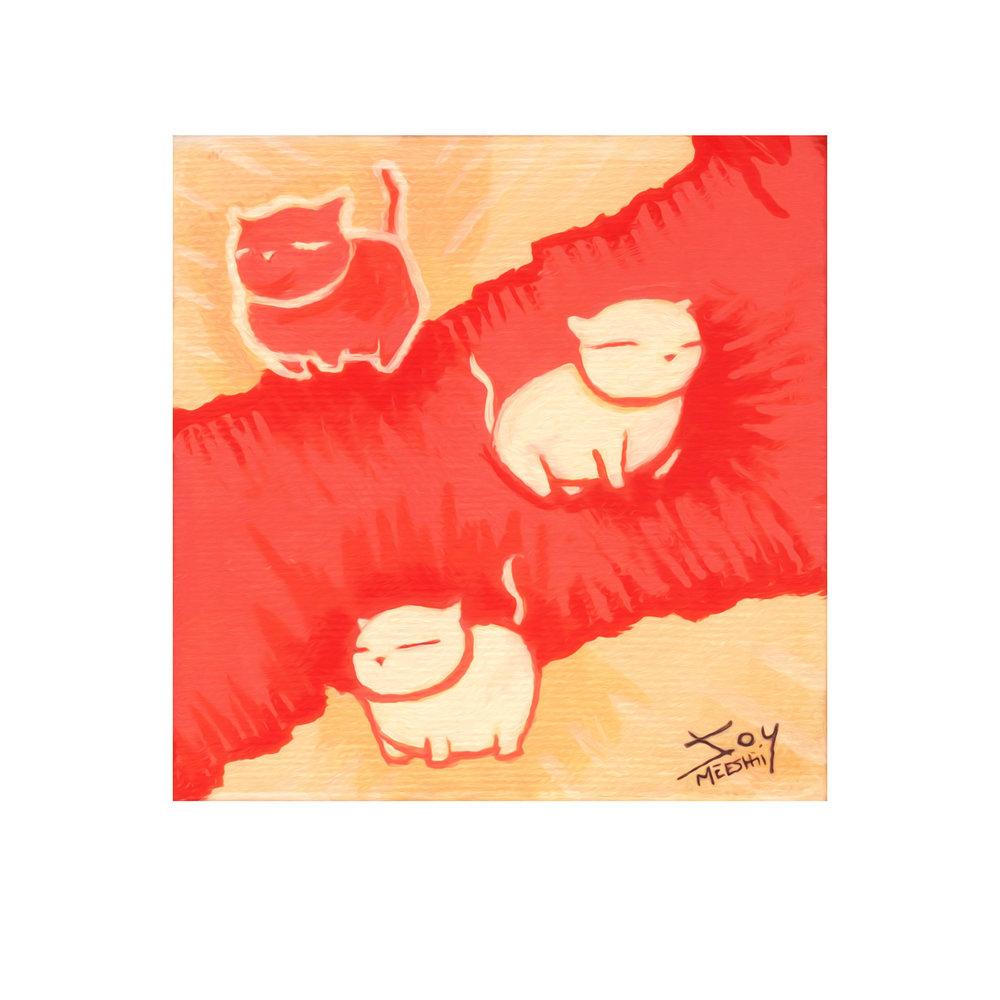 "Cat Budz   5""x5""  acrylic on canvas"