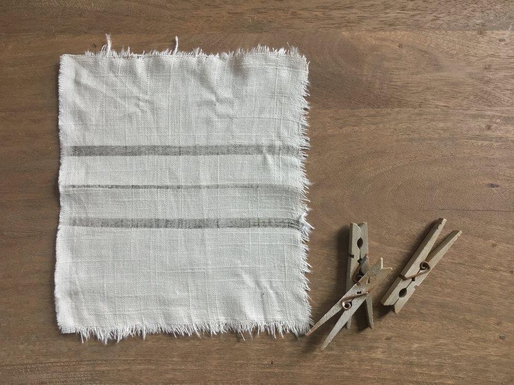 linen blend - ecru grain sack stripe