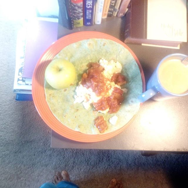 Breakfast is served!  egg whites on a spinach wrap with peach salsa one whole green apple and one cup of coffee . Starting your day off with a healthy breakfast rejuvenates and ignites your metabolism for healthy day?  Did you do something healthy for yourself this morning?  Coach j Www.Laticia action Jackson.com