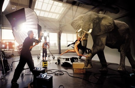 """FROM TUSK TILL DAWN """"There have been so many great moments at Pier 59. I can remember the volcano being built for a Britney Spears album cover shoot, and the perfect replica of the Oval Office of the White House for another shoot, and Peter Beard shooting with an elephant on another occasion. We have had many scenarios—models with tigers, too, and all that,"""" Federico Pignatelli says, who photographed all the images in this story."""