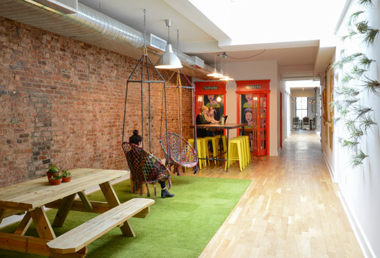 "WE ARE SOCIAL LOUNGE  Less portable but just as fun, this Soho social-media agency turned an otherwise narrow hallway into a place where employees could get away from their desks. ""Swings and phone booths are the new black,"" Lynch-Sparks quips. We can't say we disagree."