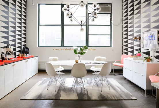 TWELVE CONFERENCE ROOM  Annnnd we're back to wallpaper. At this Dumbo product-development company, Lynch-Sparks' team used a linear graphic to make the space appear larger and let the accent colors really pop.