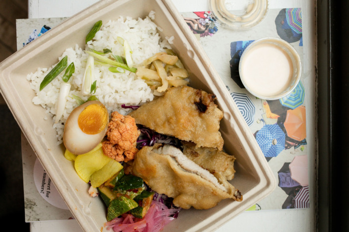 The fried-pork-chop bento box from Nom Wah Kuai. Photo: Melissa Hom