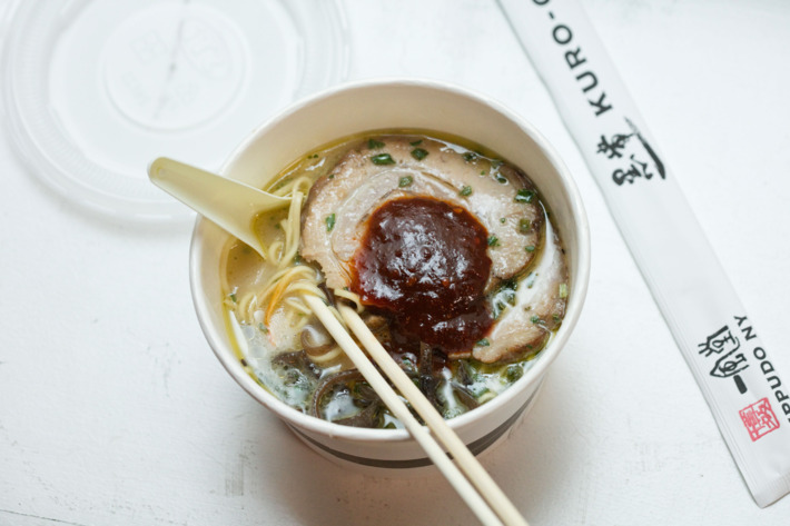 Ippudo Kuro-Obi's Aka-Obi, chicken broth with Zuzutto noodles and spicy miso paste. Photo: Melissa Hom