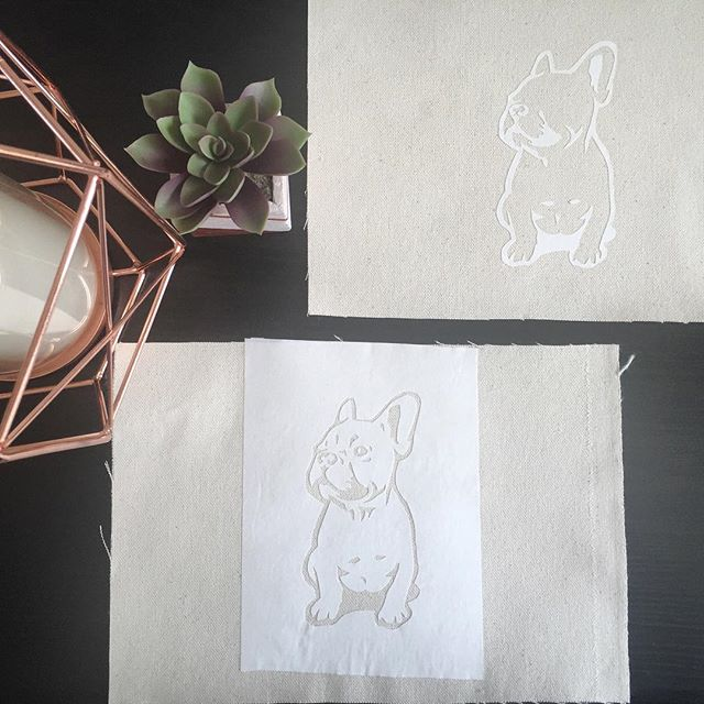 Frenchie obsession leads to new techniques. Working with positive and negative space, and a little fabric paint...fingers crossed it works! #owlmadelovely #smushyface