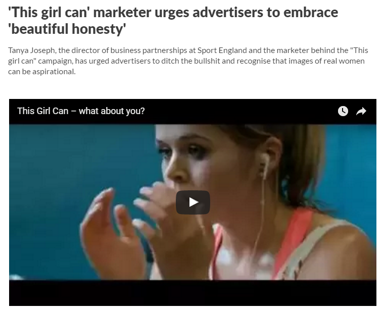 'This girl can' marketer urges advertisers to embrace 'beautiful honesty'