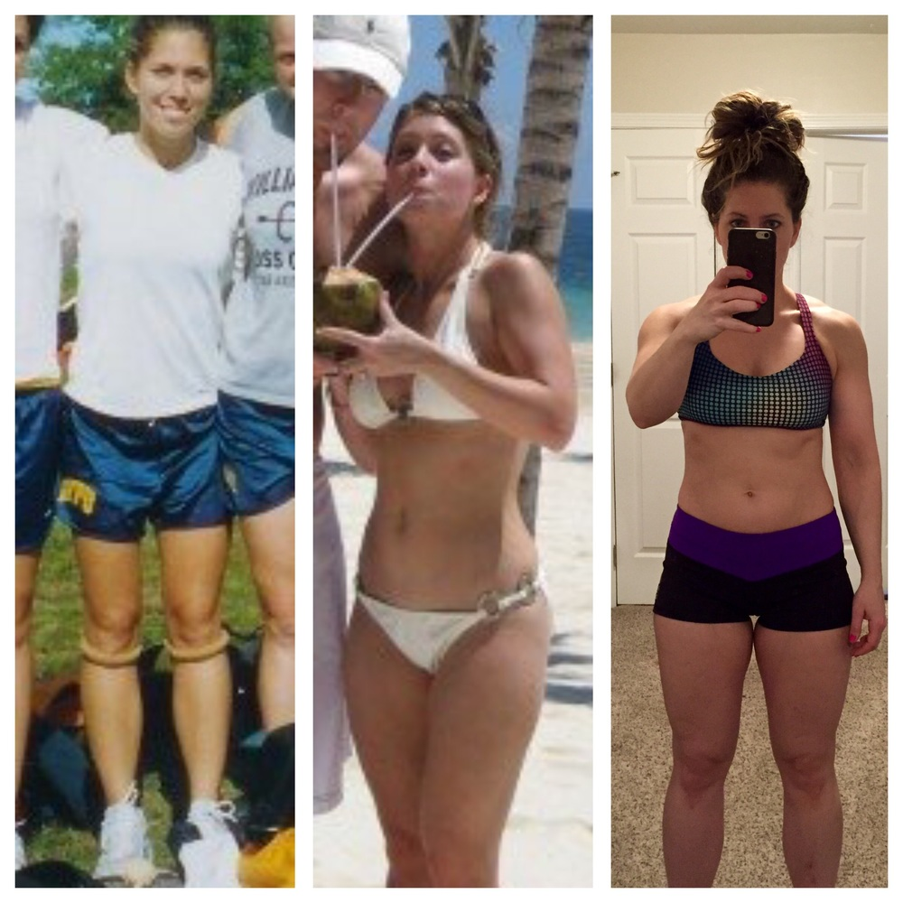 How my body has evolved with my fitness. 2003 (age:21, 100#)  2007 (age:  25, 118#), 2016 (age: 33, 134#)
