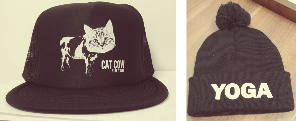 Cat Cow trucker caps & YOGA stocking caps, a couple of the new additions to My Yoga Exchange.