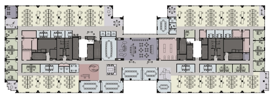 Full floor occupant North and South Towers Connectable on three floors 43,669 rsf per floor