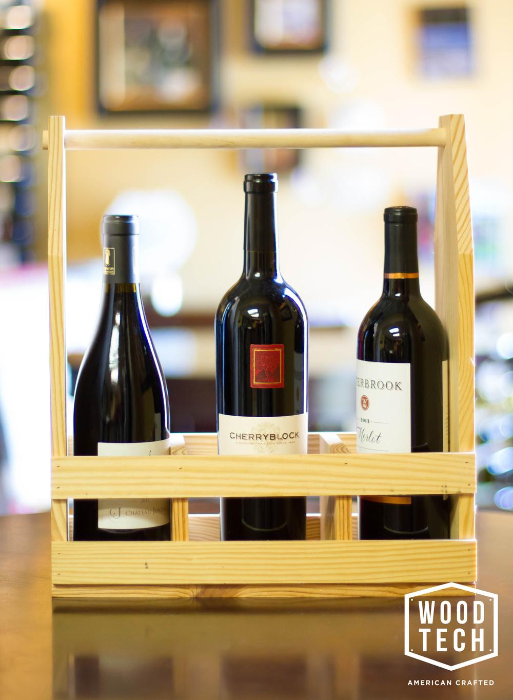 Custom Wood Wine Carrier Side View