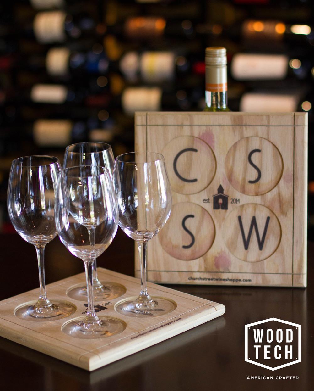 Custom Wood Wine Glass Carrier Detail