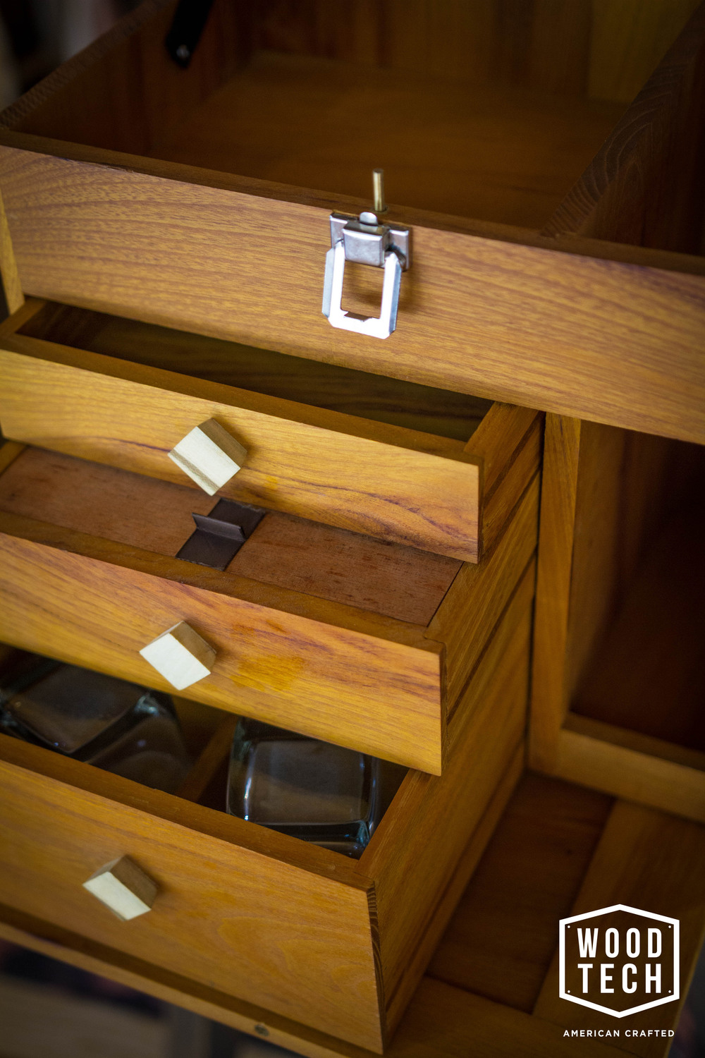 Custom Wood Box with Drawers Detail
