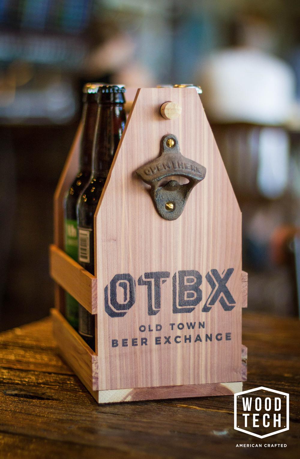 custom printed wooden beer tote