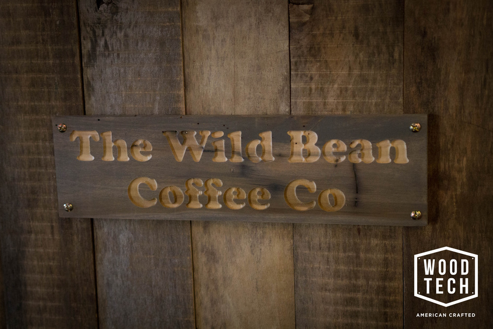 Routed Wood Sign for Wild Bean Coffee