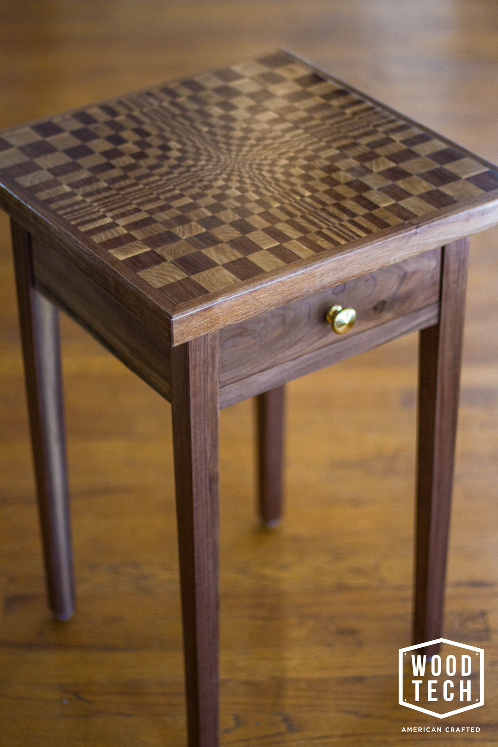 Custom Wood Table with Escher Inspired Design