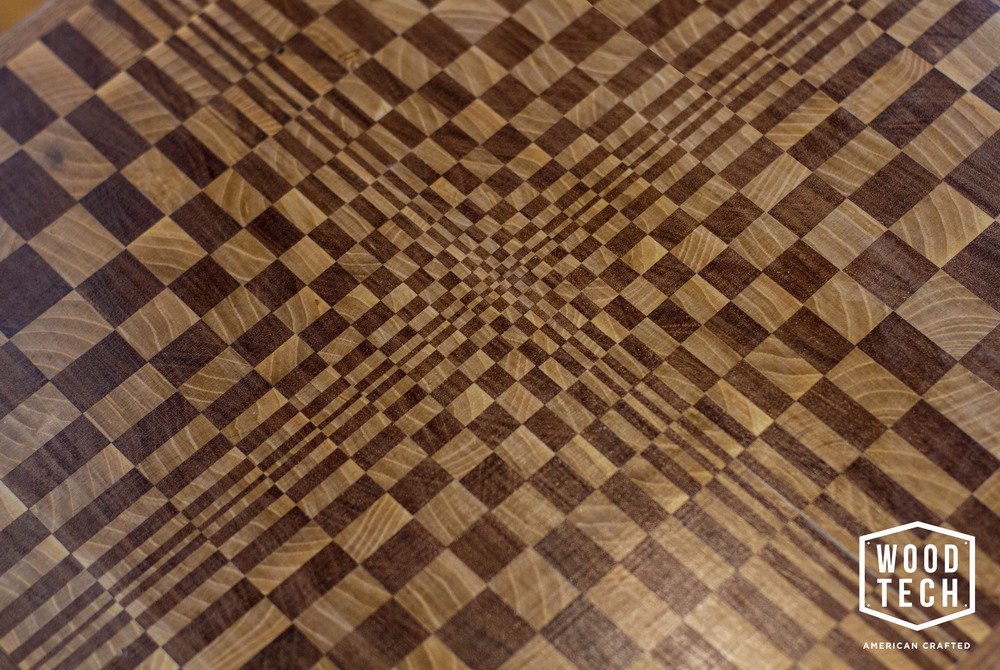 Custom Wood Table with Escher Inspired Design Top View