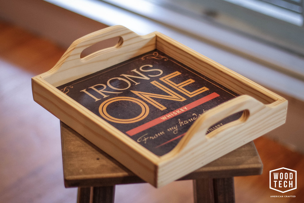 Custom Irons One Distillery Wood Tray