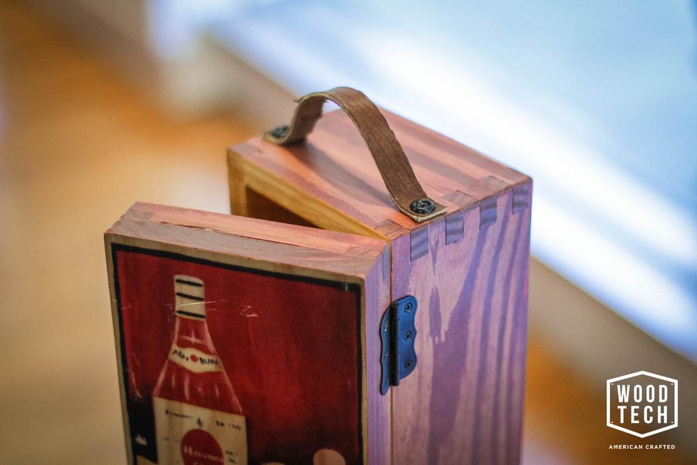 Custom Wooden Liquor Bottle Box Detail Top