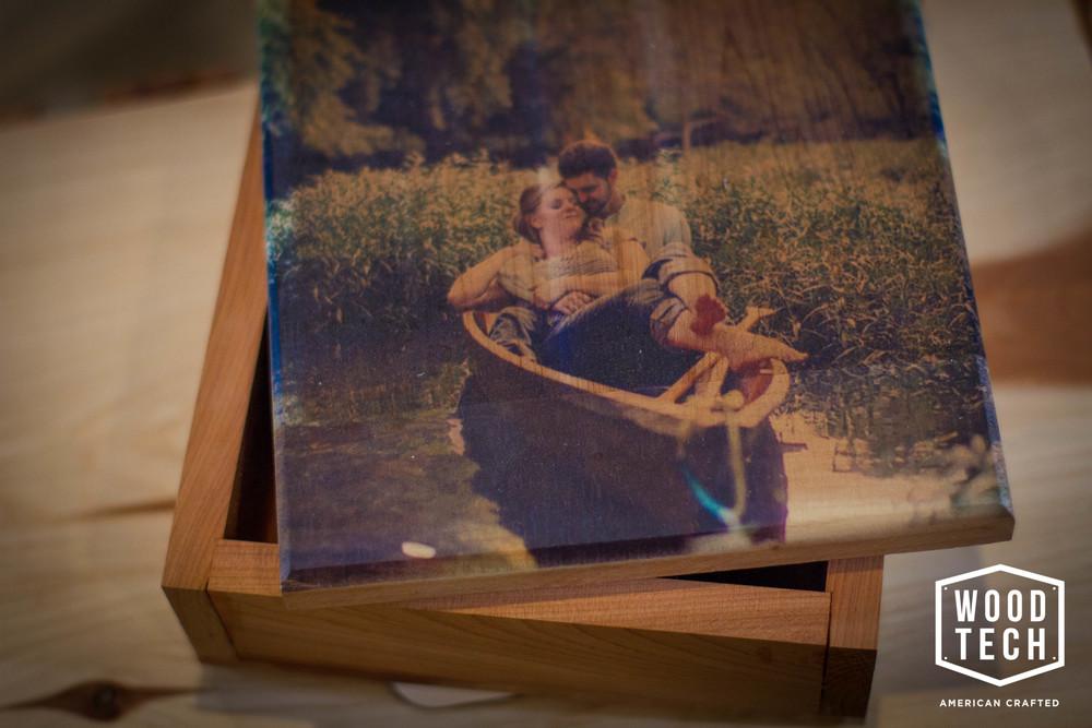 Custom Wood Memory Box with Printed Top Detail