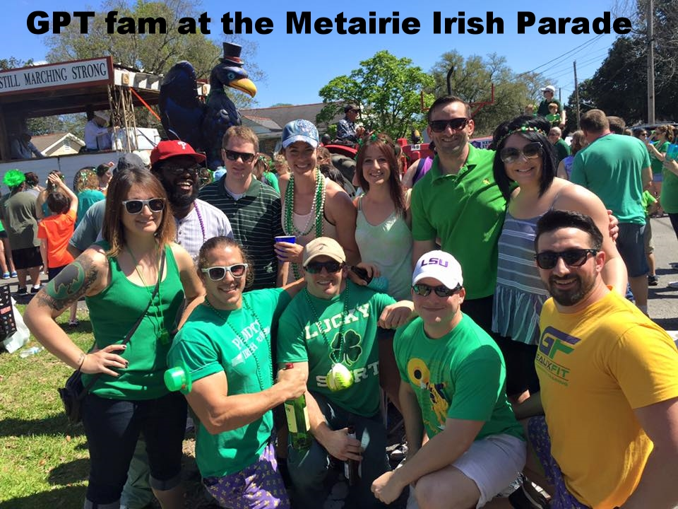 GeauxFit Performance Training FitFam at the Metairie Irish Parade having fun