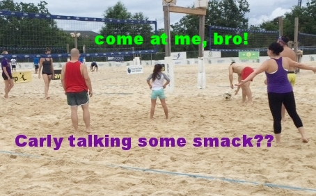 on the sand volleyball court in Kenner putting our muscles and fitness to good fun
