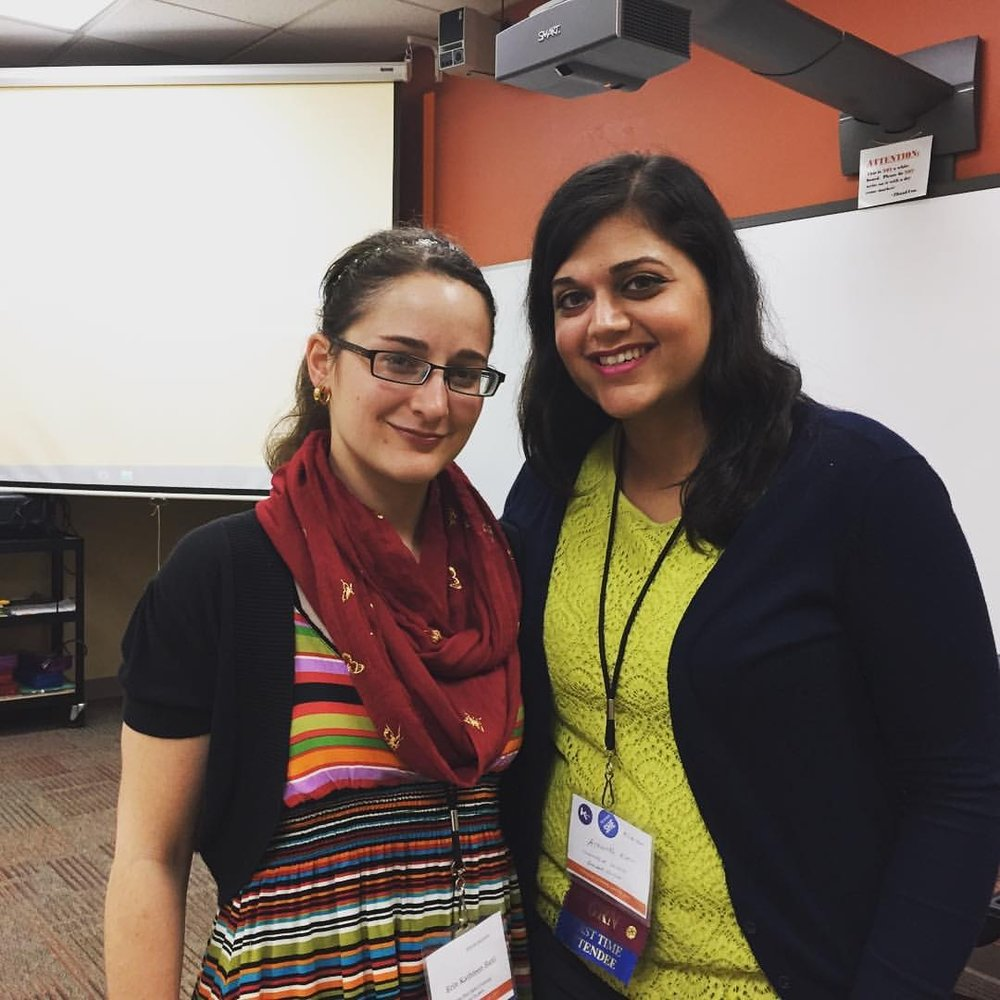 "Computers and Writing 2017 - Pictured here (left to right) Erin Kathleen Bahl and Ashanka Kumari after presenting their paper on learning through failure in digital composing at Computers and Writing 2017.Bahl, Erin Kathleen and Ashanka Kumari. ""'Not all those who wander are lost': Learning through Failure in Digital Composing."" Paper. Computers and Writing. Findlay, Ohio: May 2017."