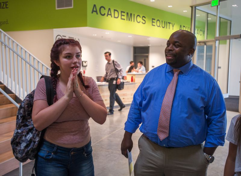 OUTLOOK PHOTO: JOSH KULLA - Principal Matt Ross explains how the new Open School East building reinforces the school's mission of preparing students to succeed in college.